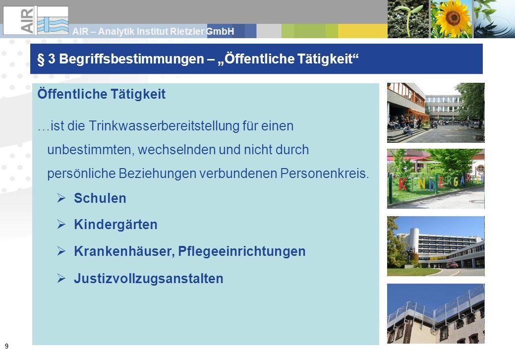 AIR – Analytik Institut Rietzler GmbH 9 § 3 Begriffsbestimmungen Öffentliche Tätigkeit …ist die Trinkwasserbereitstellung für einen unbestimmten, wech