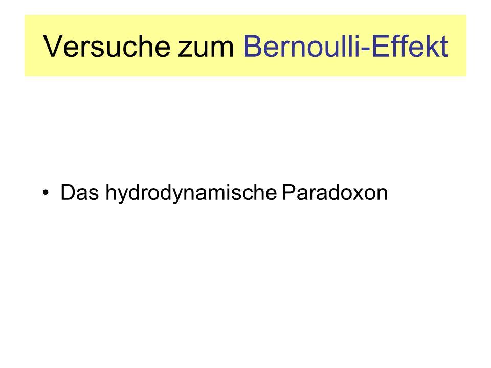 Versuche zum Bernoulli-Effekt Das hydrodynamische Paradoxon