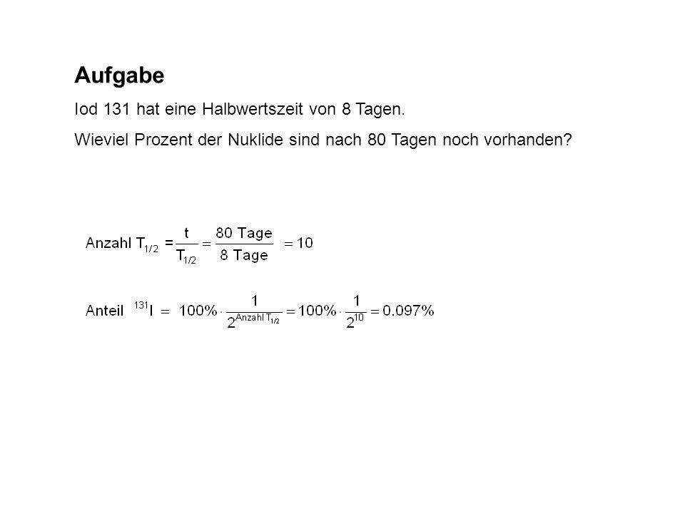 Aufgabe Iod 131 hat eine Halbwertszeit von 8 Tagen. Wieviel Prozent der Nuklide sind nach 80 Tagen noch vorhanden?