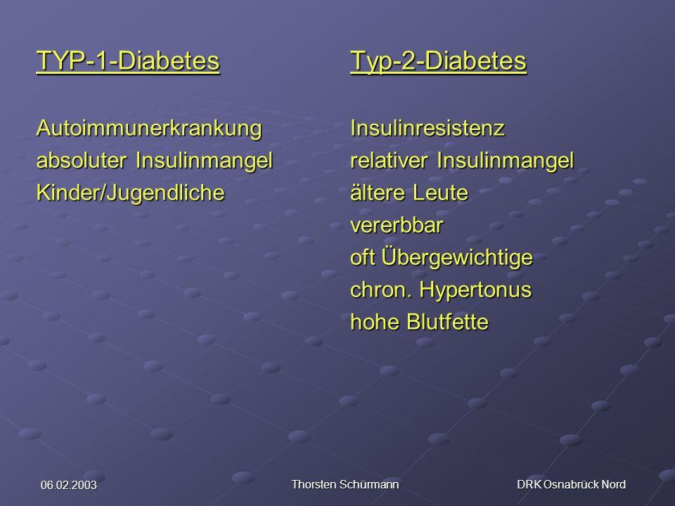 06.02.2003 Thorsten Schürmann DRK Osnabrück Nord TYP-1-DiabetesAutoimmunerkrankung absoluter Insulinmangel Kinder/JugendlicheTyp-2-DiabetesInsulinresi