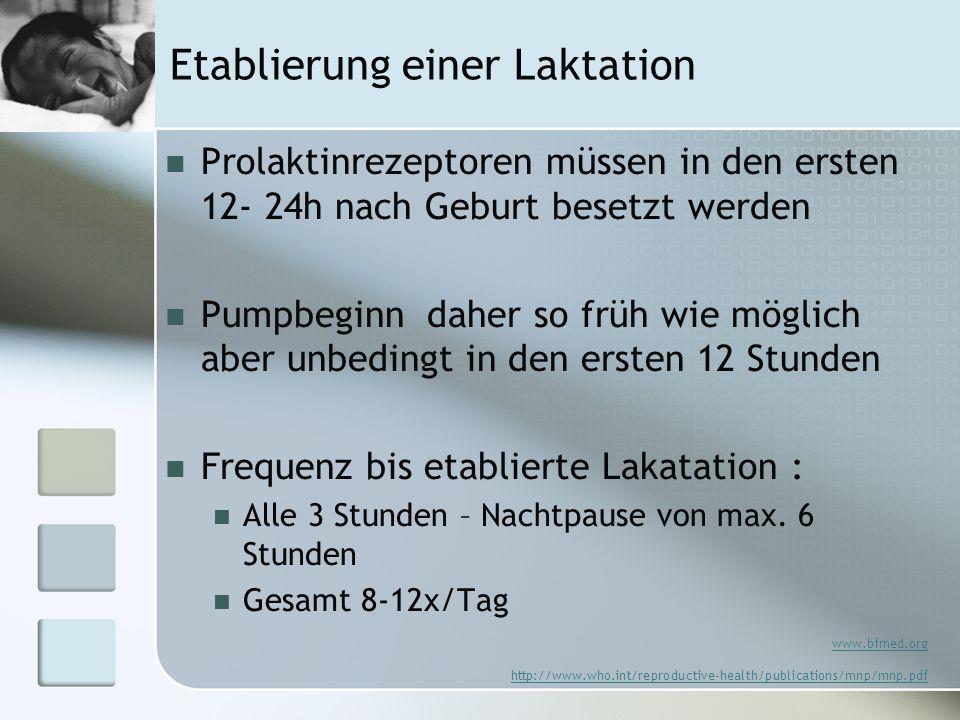 Etablierung einer Laktation Prolaktinrezeptoren müssen in den ersten 12- 24h nach Geburt besetzt werden Pumpbeginn daher so früh wie möglich aber unbe