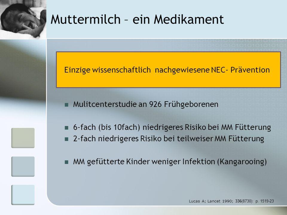 Muttermilch- ein Medikament Muttermilch (n=123) Formula (n=89)p- Wert Infektionen gesamt 36 (29.3%)42 (47.2%)0.01 Sepsis und /oder Meningitis 24 (19.5%)29 (32.6%)0.04 Weniger Septitiden, Menigitiden, Harnwegsinfekts Höheren IQ Bessere visuelle Entwicklung und verminderte ROP-Inzidenz Weniger oxidativen Stress Hylander MA; Pediatrics1998;102(3):E38 CPQCC Toolkit Rev.
