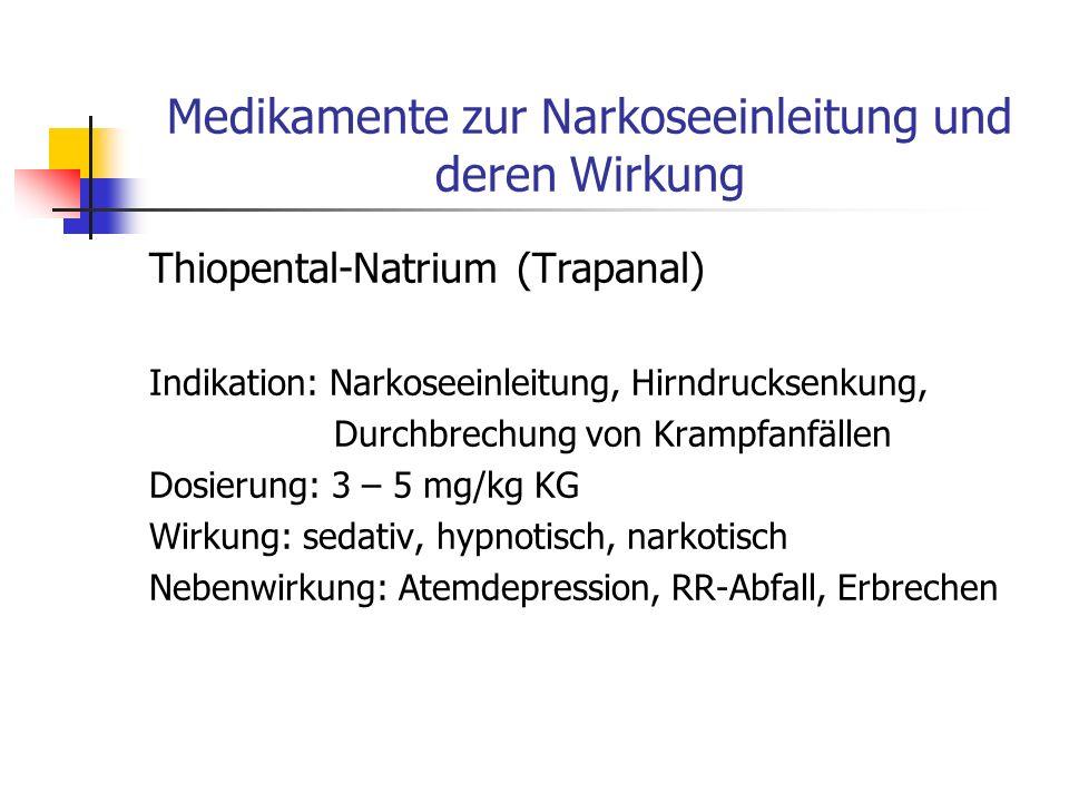 Medikamente zur Narkoseeinleitung und deren Wirkung Fentanyl (Fentanyl) Indikation: Schmerzausschaltung Dosierung: 0,05 – 0,1 mg Wirkung: zentrale Ana