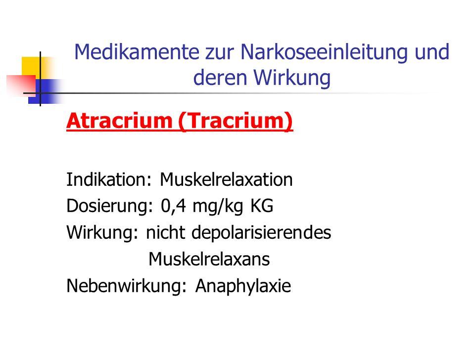 Medikamente zur Narkoseeinleitung und deren Wirkung Succinylcholinchlorid (Lysthenon) Indikation: Muskelrelaxation Dosierung: 1 mg/kg KG Wirkung: depo