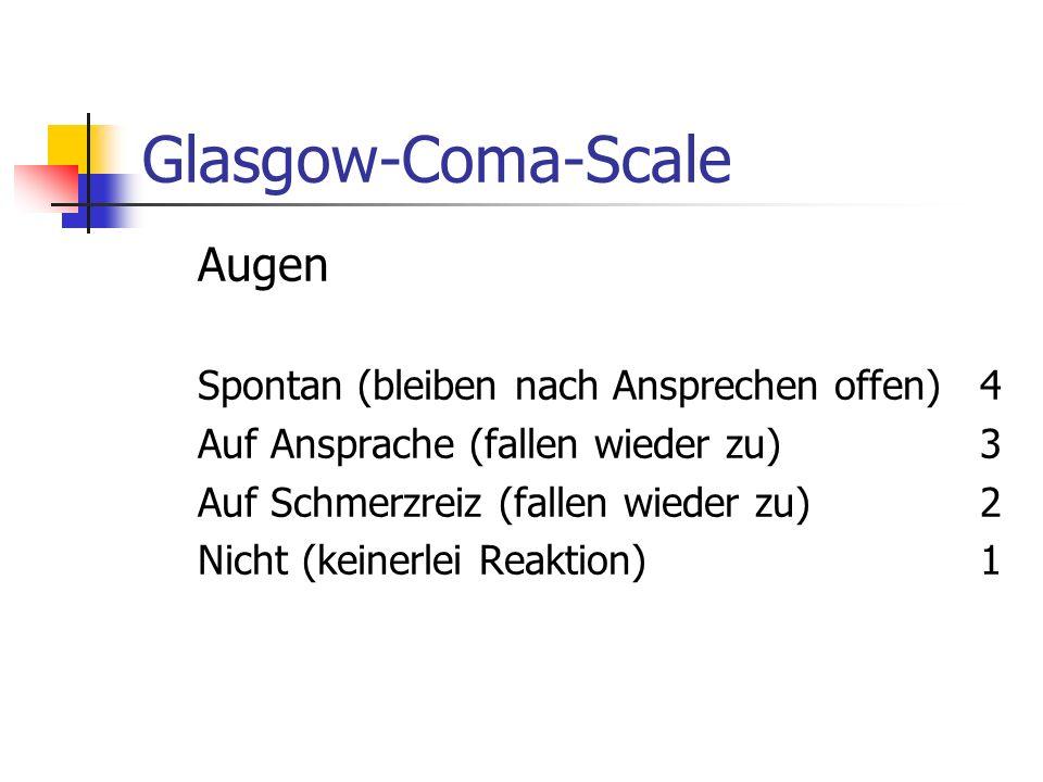 Glasgow-Coma-Scale Skala zur Quantifizierung von Bewußtseinsänderungen GCS hat sich als Bewertungsverfahren am weitesten durchgesetzt. Die höchste err