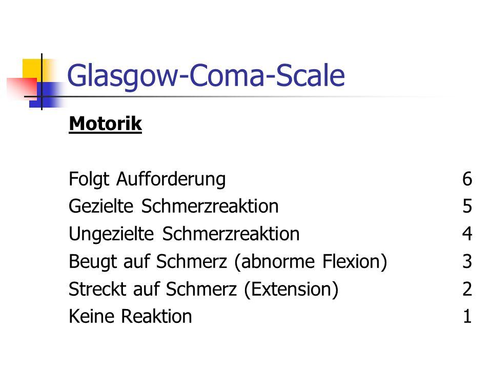 Glasgow-Coma-Scale Bewußtsein (verbale Reaktion) Orientiert (örtlich, zeitlich, autophysisch) 5 Desorientiert (in mind. einer Qualität) 4 Ungezielte R