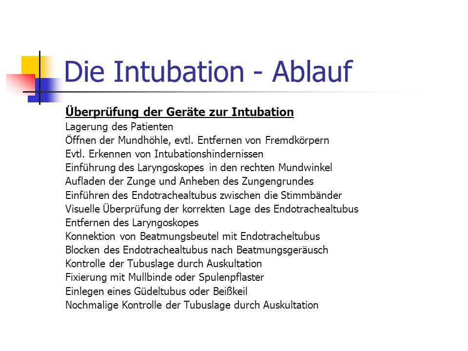 Die Intubation - Ablauf Überprüfung der Geräte zur Intubation Lagerung des Patienten Öffnen der Mundhöhle, evtl.