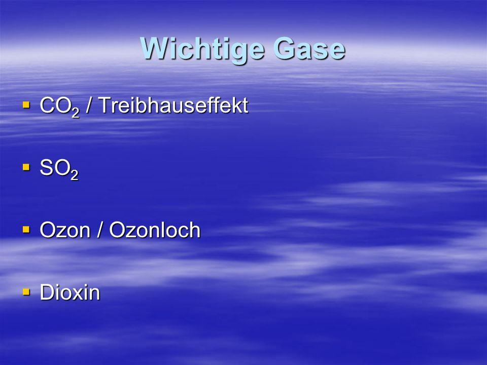 Wichtige Gase CO 2 / Treibhauseffekt CO 2 / Treibhauseffekt SO 2 SO 2 Ozon / Ozonloch Ozon / Ozonloch Dioxin Dioxin