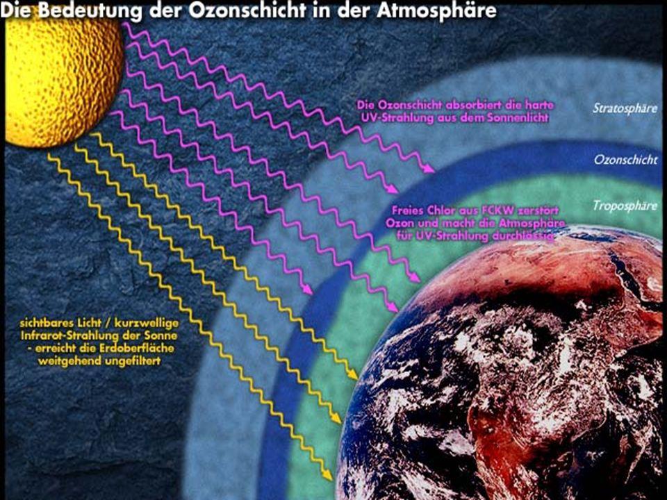Ozonloch Ozon, welches in der Stratosphäre gebildet wird, ist für uns lebenswichtig. Es absorbiert teilweise die UV-Strahlung der Sonne. Ozon, welches