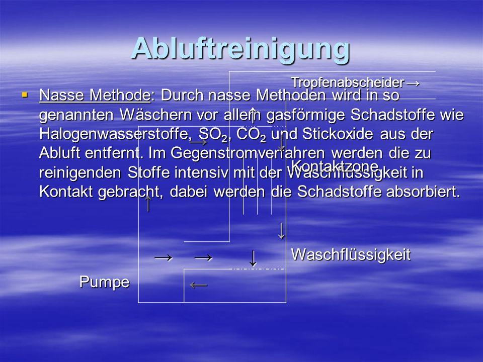 Abluftreinigung Nasse Methode: Durch nasse Methoden wird in so genannten Wäschern vor allem gasförmige Schadstoffe wie Halogenwasserstoffe, SO 2, CO 2