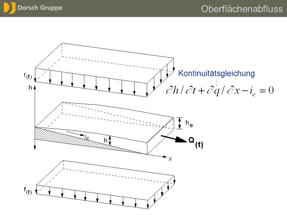 Kontinuitätsgleichung : Oberflächenabfluss