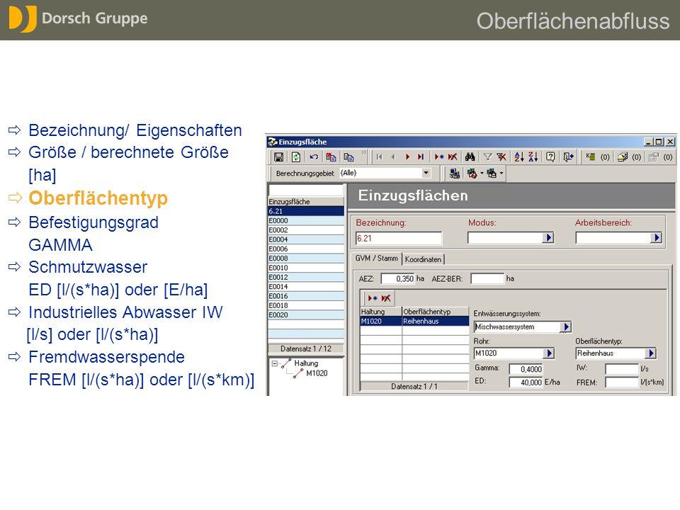 Bezeichnung/ Eigenschaften Größe / berechnete Größe [ha] Oberflächentyp Befestigungsgrad GAMMA Schmutzwasser ED [l/(s*ha)] oder [E/ha] Industrielles A