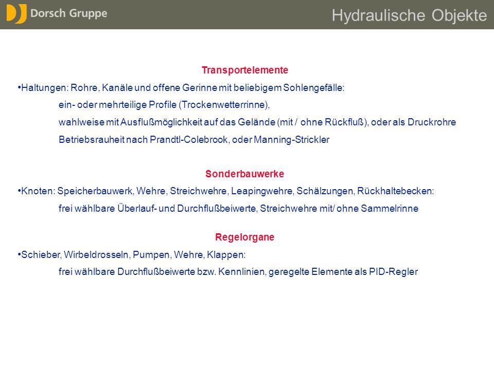 Transportelemente Haltungen: Rohre, Kanäle und offene Gerinne mit beliebigem Sohlengefälle: ein- oder mehrteilige Profile (Trockenwetterrinne), wahlwe