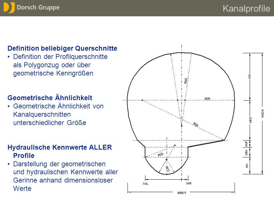 Definition beliebiger Querschnitte Definition der Profilquerschnitte als Polygonzug oder über geometrische Kenngrößen Geometrische Ähnlichkeit Geometr