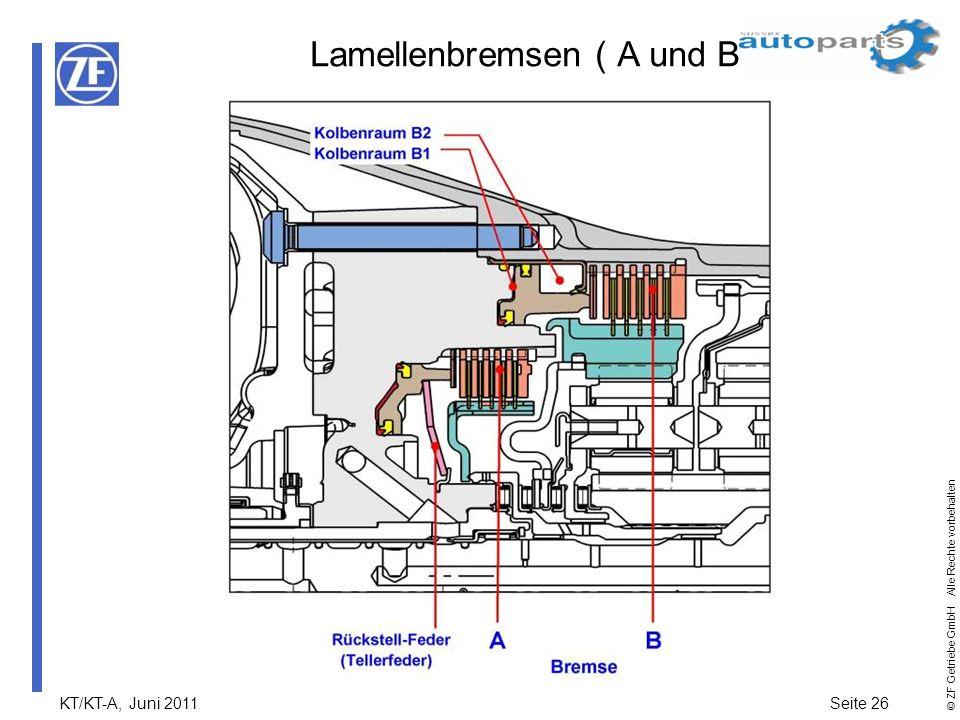 KT/KT-A, Juni 2011Seite 26 © ZF Getriebe GmbH Alle Rechte vorbehalten Lamellenbremsen ( A und B )