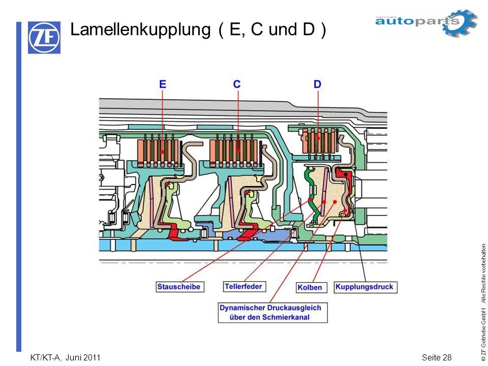 KT/KT-A, Juni 2011Seite 28 © ZF Getriebe GmbH Alle Rechte vorbehalten Lamellenkupplung ( E, C und D )
