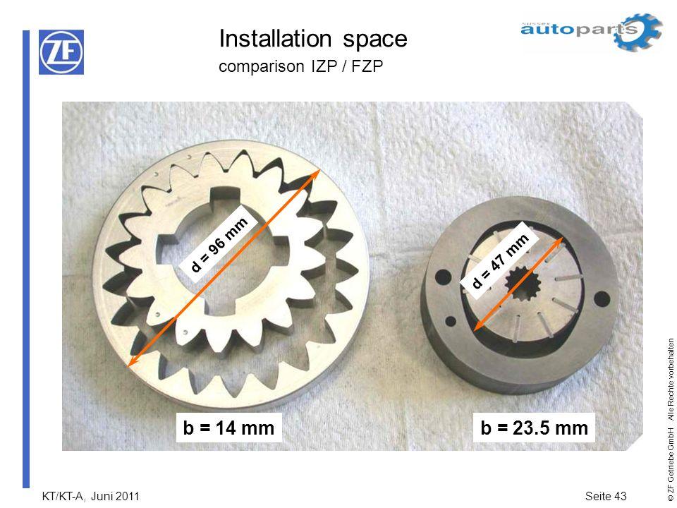 KT/KT-A, Juni 2011Seite 43 © ZF Getriebe GmbH Alle Rechte vorbehalten Installation space comparison IZP / FZP b = 14 mmb = 23.5 mm d = 96 mm d = 47 mm