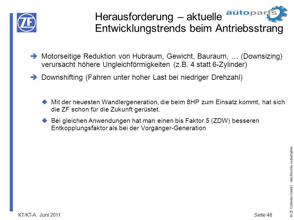 KT/KT-A, Juni 2011Seite 48 © ZF Getriebe GmbH Alle Rechte vorbehalten Herausforderung – aktuelle Entwicklungstrends beim Antriebsstrang Motorseitige R
