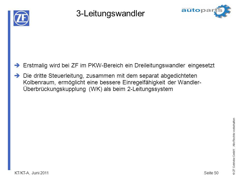 KT/KT-A, Juni 2011Seite 50 © ZF Getriebe GmbH Alle Rechte vorbehalten 3-Leitungswandler Erstmalig wird bei ZF im PKW-Bereich ein Dreileitungswandler e