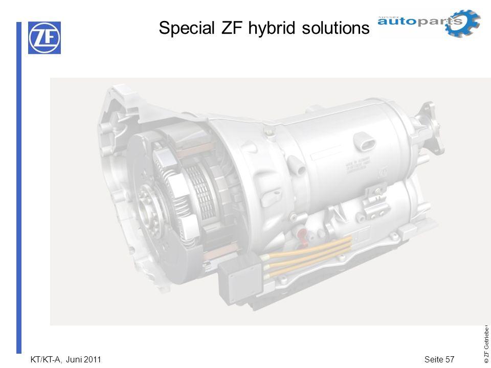 KT/KT-A, Juni 2011Seite 57 © ZF Getriebe GmbH Alle Rechte vorbehalten Special ZF hybrid solutions