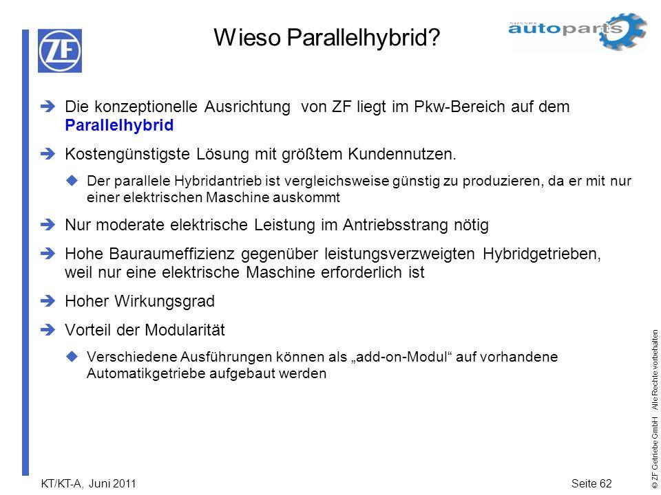 KT/KT-A, Juni 2011Seite 62 © ZF Getriebe GmbH Alle Rechte vorbehalten Wieso Parallelhybrid? Die konzeptionelle Ausrichtung von ZF liegt im Pkw-Bereich