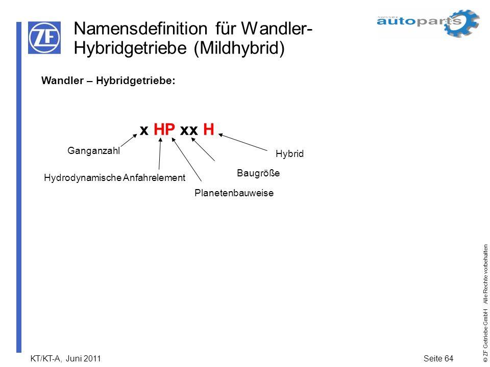 KT/KT-A, Juni 2011Seite 64 © ZF Getriebe GmbH Alle Rechte vorbehalten Namensdefinition für Wandler- Hybridgetriebe (Mildhybrid) Wandler – Hybridgetrie