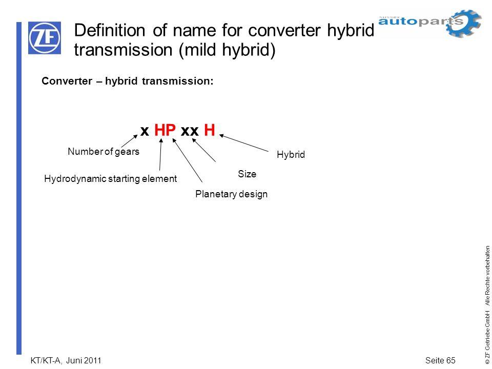 KT/KT-A, Juni 2011Seite 65 © ZF Getriebe GmbH Alle Rechte vorbehalten Definition of name for converter hybrid transmission (mild hybrid) Converter – h