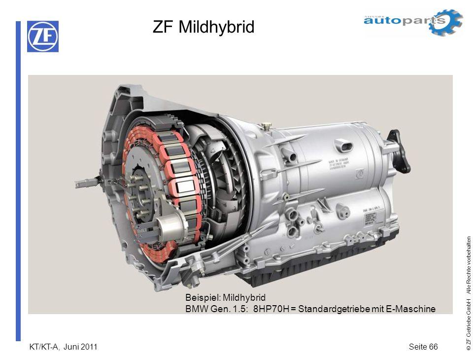 KT/KT-A, Juni 2011Seite 66 © ZF Getriebe GmbH Alle Rechte vorbehalten ZF Mildhybrid Beispiel: Mildhybrid BMW Gen. 1.5: 8HP70H = Standardgetriebe mit E