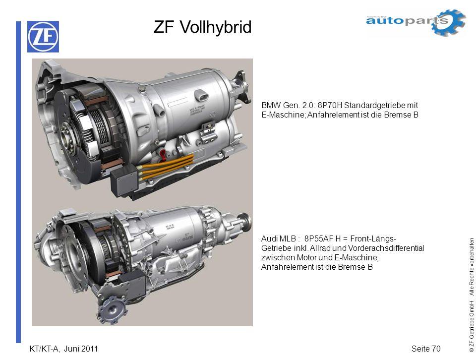 KT/KT-A, Juni 2011Seite 70 © ZF Getriebe GmbH Alle Rechte vorbehalten ZF Vollhybrid BMW Gen. 2.0: 8P70H Standardgetriebe mit E-Maschine; Anfahrelement