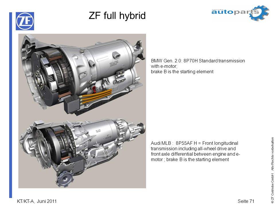KT/KT-A, Juni 2011Seite 71 © ZF Getriebe GmbH Alle Rechte vorbehalten ZF full hybrid BMW Gen. 2.0: 8P70H Standard transmission with e-motor; brake B i
