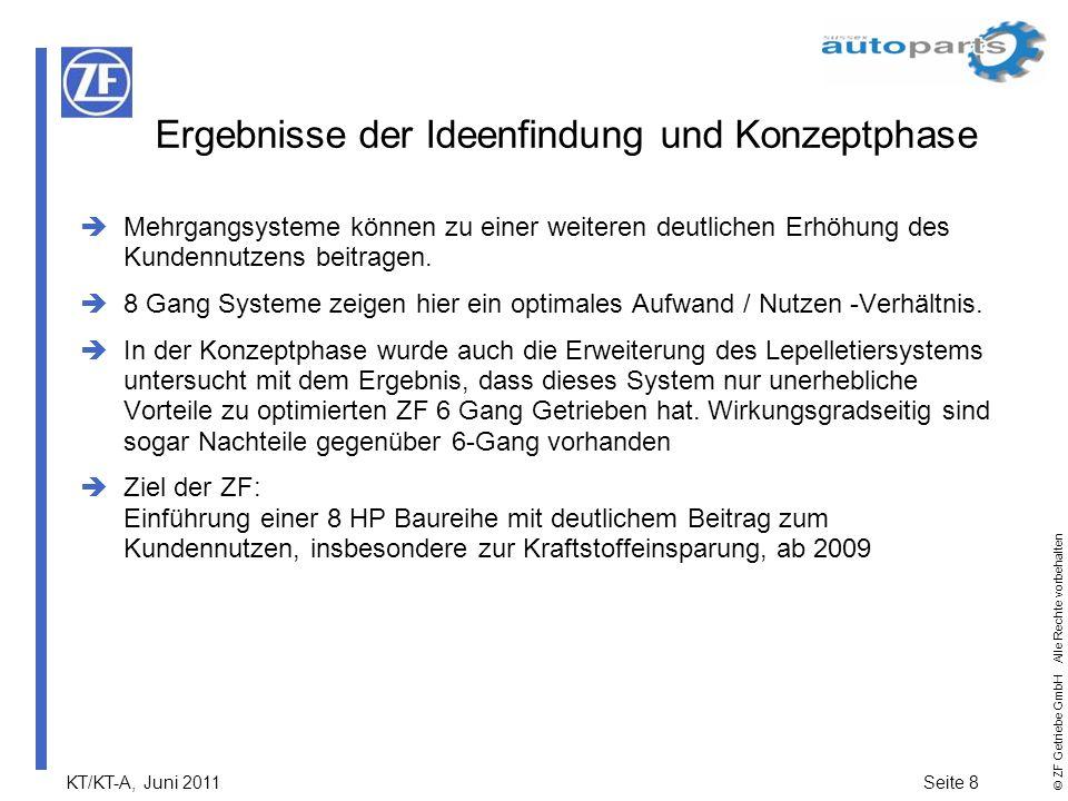 KT/KT-A, Juni 2011Seite 8 © ZF Getriebe GmbH Alle Rechte vorbehalten Mehrgangsysteme können zu einer weiteren deutlichen Erhöhung des Kundennutzens be