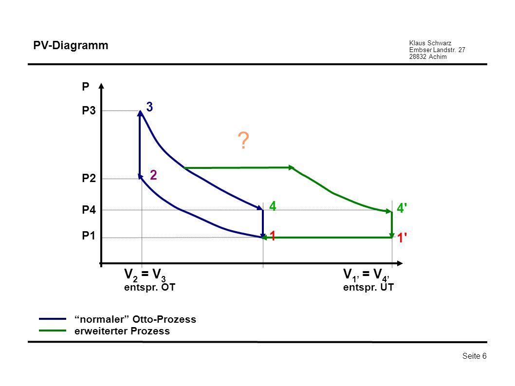Klaus Schwarz Embser Landstr. 27 28832 Achim Seite 6 PV-Diagramm P P3 P2 P4 P1 2 3 V 2 = V 3 entspr. OT V 1 = V 4 entspr. UT ? 1' 4' 1 4 normaler Otto