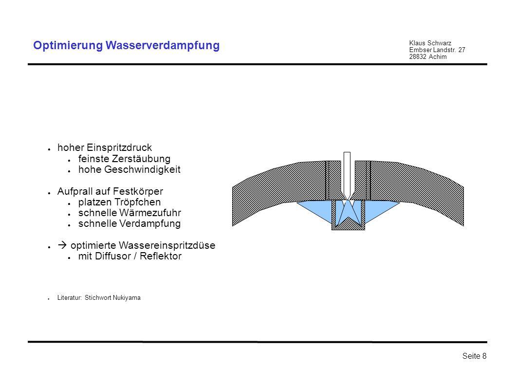 Klaus Schwarz Embser Landstr. 27 28832 Achim Seite 8 Optimierung Wasserverdampfung hoher Einspritzdruck feinste Zerstäubung hohe Geschwindigkeit Aufpr
