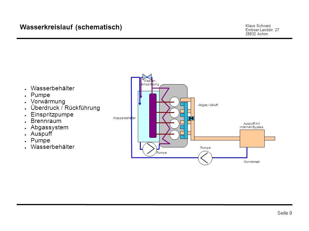 Klaus Schwarz Embser Landstr. 27 28832 Achim Seite 9 Wasserbehälter Pumpe Auspuff mit internen Bypass Wasser- einspritzung Kondensat Wasserkreislauf (