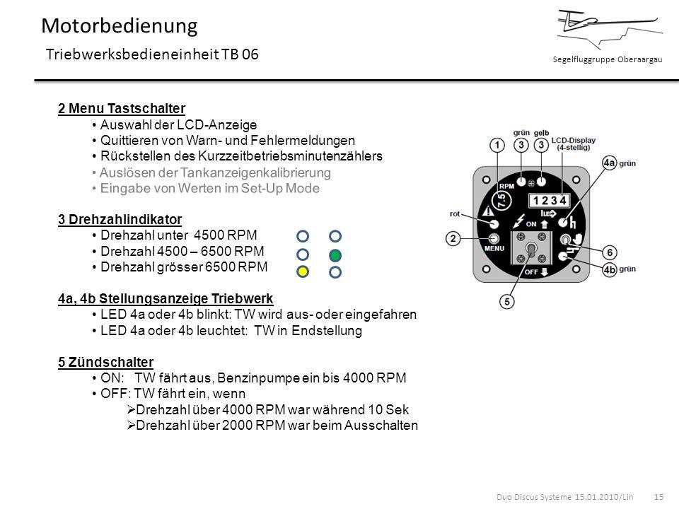 Segelfluggruppe Oberaargau Motorbedienung Triebwerksbedieneinheit TB 06 2 Menu Tastschalter Auswahl der LCD-Anzeige Quittieren von Warn- und Fehlermel