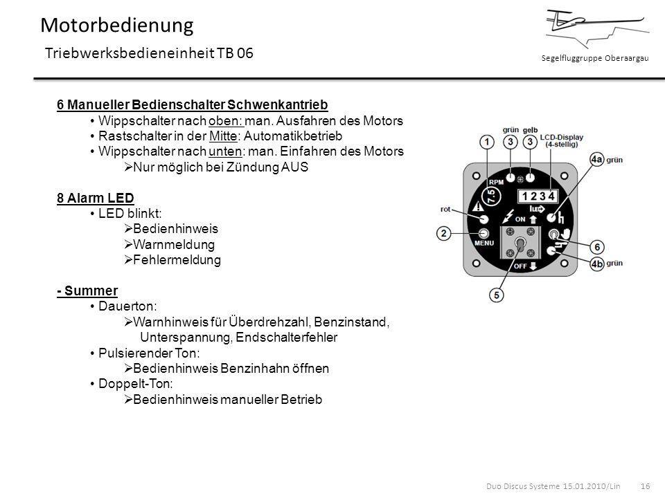 Segelfluggruppe Oberaargau Motorbedienung Triebwerksbedieneinheit TB 06 6 Manueller Bedienschalter Schwenkantrieb Wippschalter nach oben: man. Ausfahr