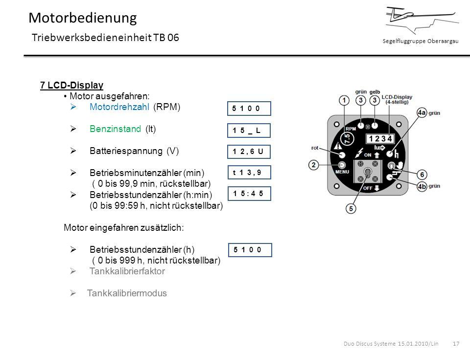 Segelfluggruppe Oberaargau Motorbedienung Triebwerksbedieneinheit TB 06 7 LCD-Display Motor ausgefahren: Motordrehzahl (RPM) Benzinstand (lt) Batterie