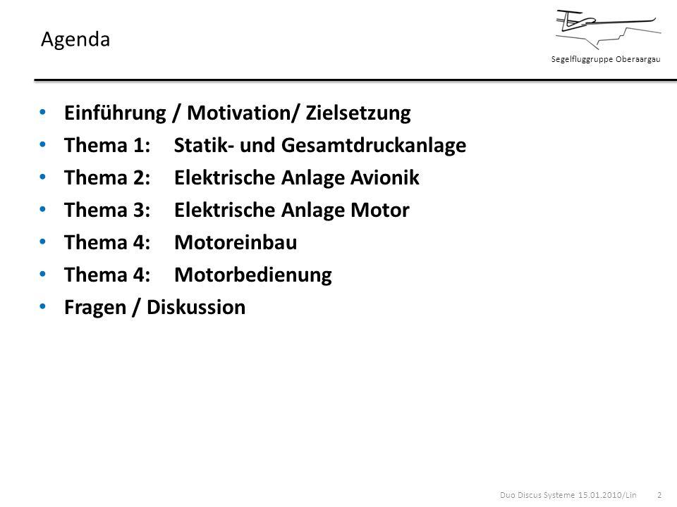 Segelfluggruppe Oberaargau Einführung / Motivation / Zielsetzung Der Duo Discus ist ein neues Segelflugzeug Einführung eines neuen Systems (Turbo) Zielsetzung: Kennenlernen der neuen Systeme Kennenlernen und Erkennen von Zusammenhängen Schaffen von Grundlagen für die praktische Einweisung 3Duo Discus Systeme 15.01.2010/Lin 3