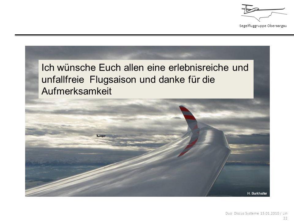 Segelfluggruppe Oberaargau Duo Discus Systeme 15.01.2010 / Lin 22 Ich wünsche Euch allen eine erlebnisreiche und unfallfreie Flugsaison und danke für