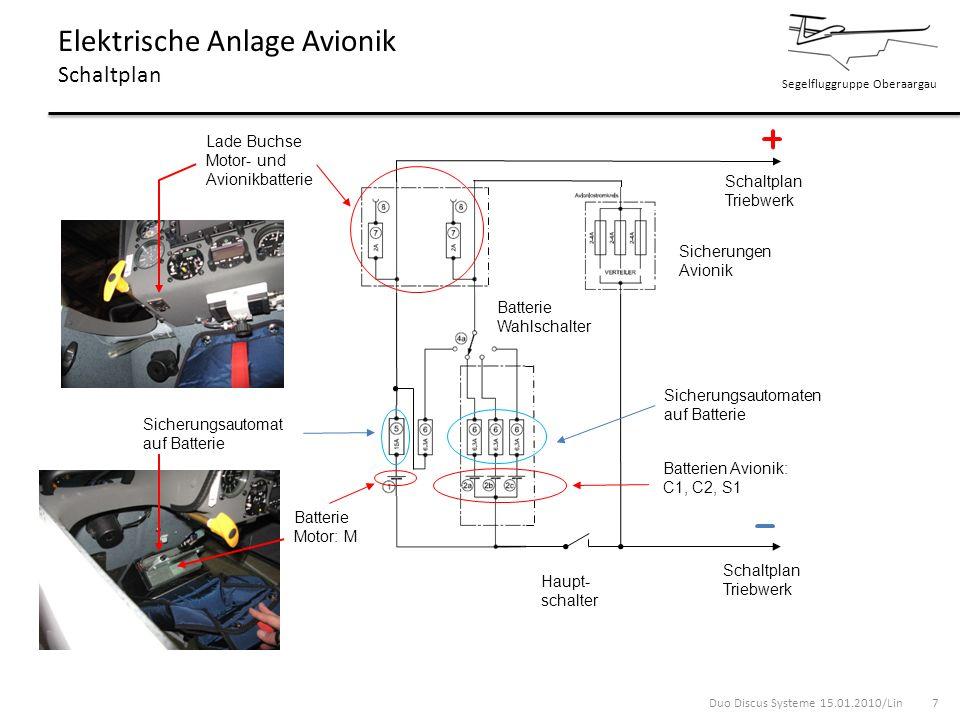 Segelfluggruppe Oberaargau Elektrische Anlage Avionik Schaltplan Schaltplan Triebwerk Batterie Wahlschalter Batterien Avionik: C1, C2, S1 Batterie Mot