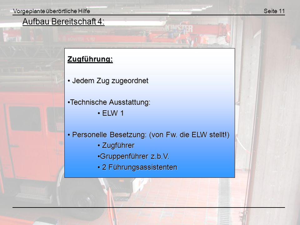 Vorgeplante überörtliche HilfeSeite 11 Aufbau Bereitschaft 4: Zugführung: Jedem Zug zugeordnet Jedem Zug zugeordnet Technische Ausstattung:Technische