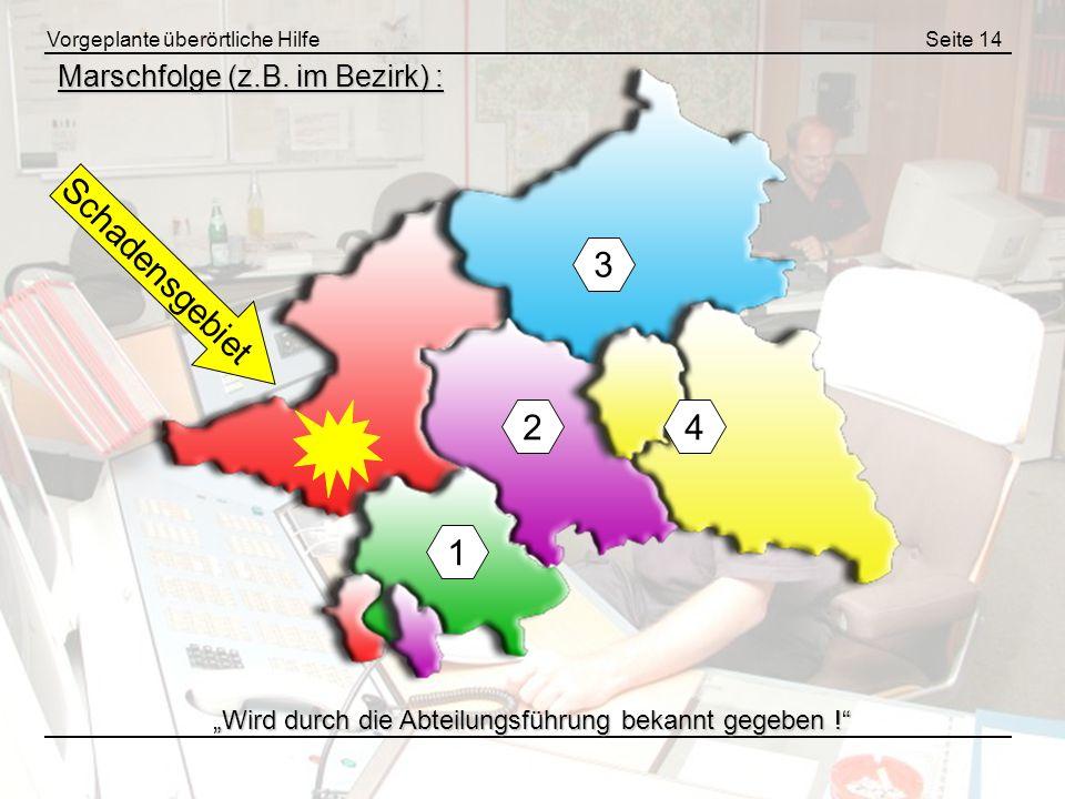 Vorgeplante überörtliche HilfeSeite 14 Marschfolge (z.B. im Bezirk) : 1 3 42 Schadensgebiet Wird durch die Abteilungsführung bekannt gegeben !