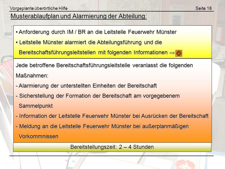 Vorgeplante überörtliche HilfeSeite 16 Musterablaufplan und Alarmierung der Abteilung: Anforderung durch IM / BR an die Leitstelle Feuerwehr Münster A
