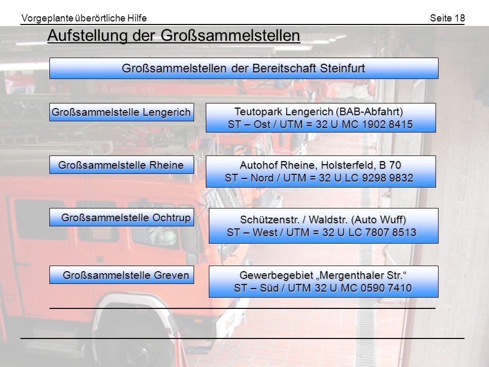 Vorgeplante überörtliche HilfeSeite 18 Aufstellung der Großsammelstellen Großsammelstellen der Bereitschaft Steinfurt Großsammelstelle Lengerich Großs