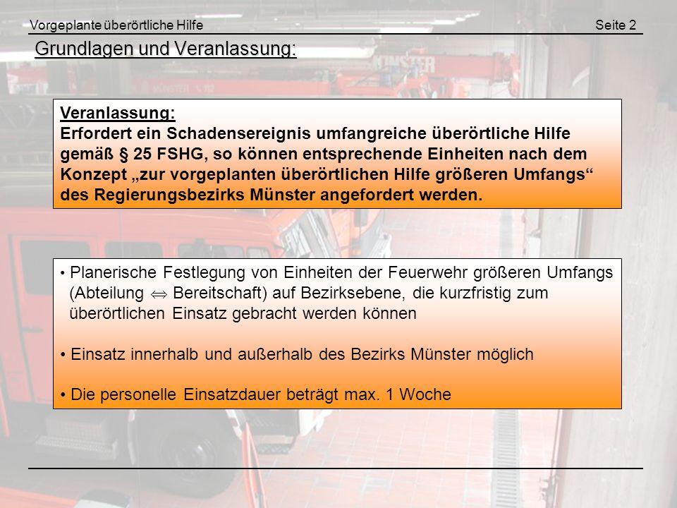 Vorgeplante überörtliche HilfeAnhang A Alarmierung und Aufgaben der Leitstelle (2) : Leitstelle Feuerwehr Münster alarmiert die ggf.