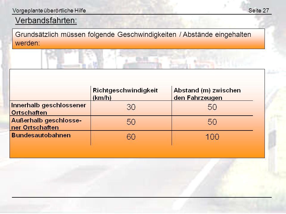 Vorgeplante überörtliche HilfeSeite 27 Verbandsfahrten: Grundsätzlich müssen folgende Geschwindigkeiten / Abstände eingehalten werden: