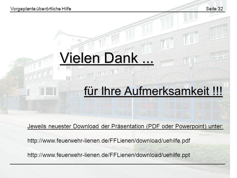 Vorgeplante überörtliche HilfeSeite 32 Vielen Dank... für Ihre Aufmerksamkeit !!! Jeweils neuester Download der Präsentation (PDF oder Powerpoint) unt