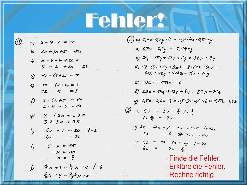 Lob des Fehlers 7. 8 = 57 13. 13 = 109 7. 7 = 49 8 57 10. 10 = 100 3. 3 = 9 109