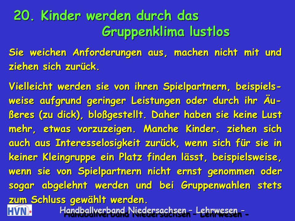 Handballverband Niedersachsen – Lehrwesen - Spiele zur Förderung der Entspannung, z.B.