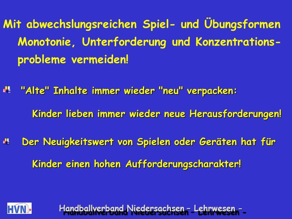 Handballverband Niedersachsen – Lehrwesen - Übungsleiter - Kinder: Spielen und Üben im Dialog